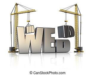 web construction - 3d illustration of cranes building web...