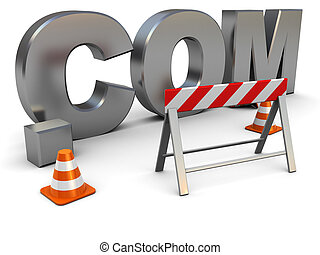 web construction - 3d illustration of text '.com'...