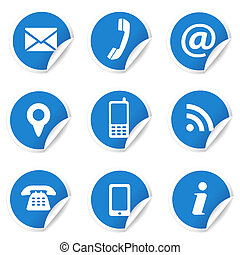 Web Contact Icons On Blue Labels - Web and Internet contact...