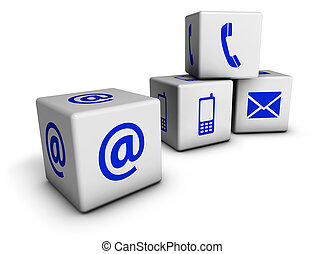 Web Contact Us Blue Icons Cubes