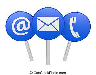 Web Contact Us Icon On Sign Post