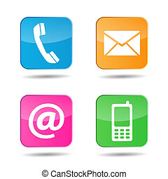 Web Contact Us Icons - Web and Internet colorful contact us...