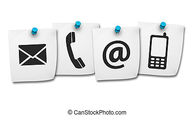Web Contact Us Icons On Post It - Website and Internet...
