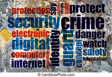 Web crime word cloud grunge concept