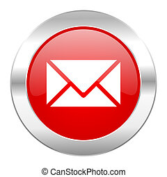 web, cromo, isolato, cerchio, email, rosso, icona