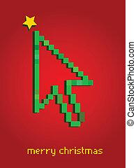 web, cursor, boompje, thema, richtingwijzer, kerstmis