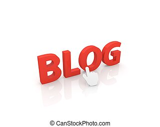 Web cursor clicks on the word blog.