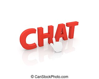 Web cursor clicks on the word chat.