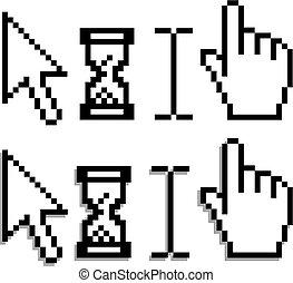 Web hand and arrow cursor with hour glass