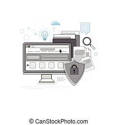 web, datenschutz, schlanke, online, sicherheit, technologie, linie