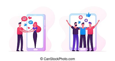 Web Dating Concept with People Meeting in Internet, Man Holding Hands Woman Going Out of Huge Smartphone Screen, Male Characters Hugging, Friendship, Human Relations. Cartoon Flat Vector Illustration