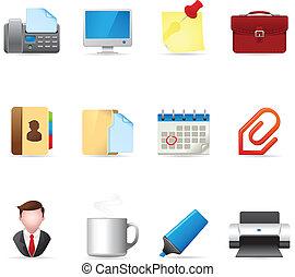 web, -, de pictogrammen van het bureau