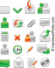 web, de pictogrammen van het bureau