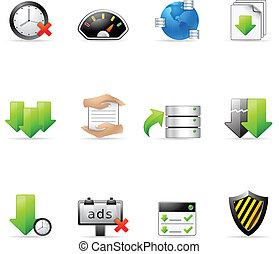 web, delen, -, bestand, iconen