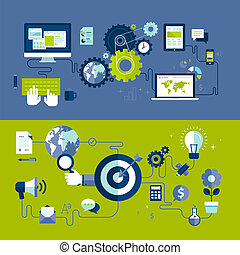 Flat design vector illustration concepts of responsive web design and internet advertising working process, isolated on stylish background.