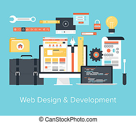 Web Design and Development - Abstract flat vector...