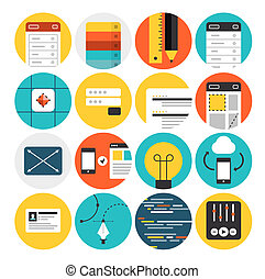Web design and development flat icons