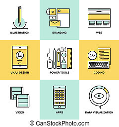 Flat line icons set of website user interface design, web page coding and programming, mobile apps development, branding and data visualization. Flat design style modern vector illustration concept.