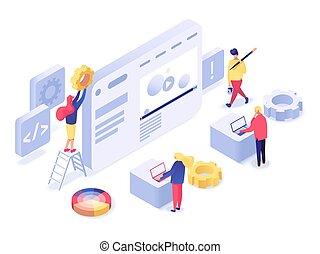 Web design and development isometric illustration