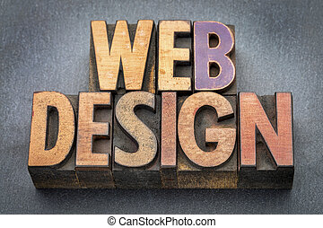 web design banner in wood type