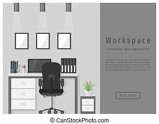 Web design banner of modern office workspace.