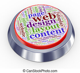 web design button - 3d render of web design button