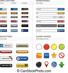 Web Design Button Element - A set of buttons, box searches,...