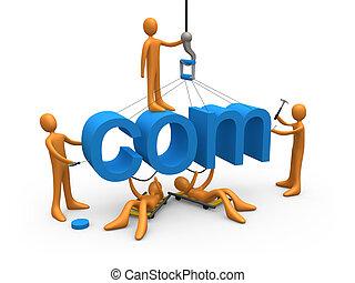 Web Design - Metaphor of a dot com website being constructed...