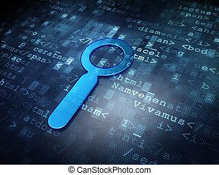 Web design concept: Blue Search on digital background, 3d...