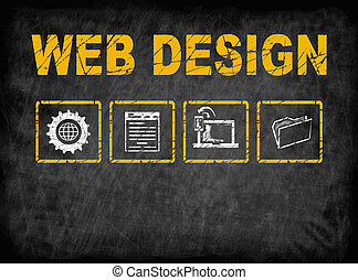 Web Design concept. Chalk board Background