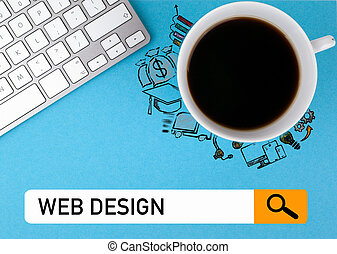 web design concept. Coffee mug and computer keyboard on a blue background