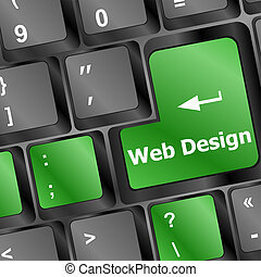 Web design concept: computer keyboard with word Website on enter button, 3d render