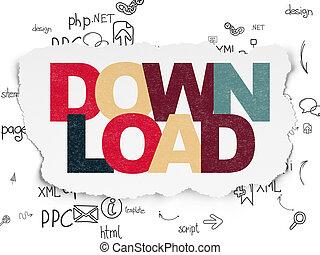 Web design concept: Download on Torn Paper background - Web...
