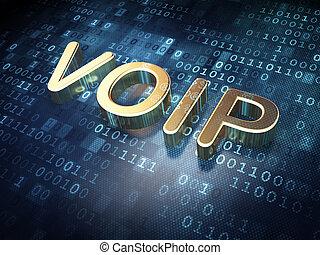 Web design concept: Golden VOIP on digital background, 3d...