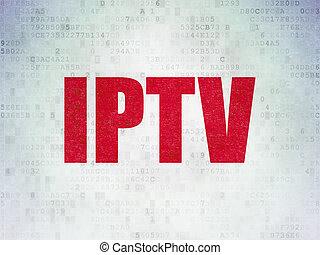 Web design concept: IPTV on Digital Data Paper background