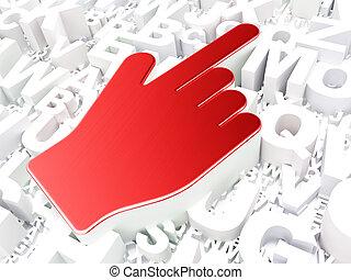 Web design concept: Mouse Cursor on alphabet background