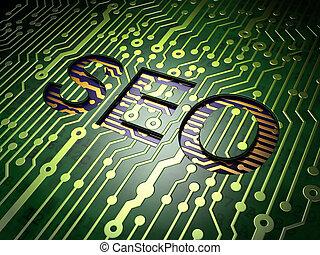 Web design concept: SEO on circuit board background