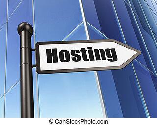 Web design concept: sign Hosting on Building background