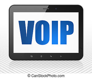 Web design concept: Tablet Pc Computer with VOIP on display