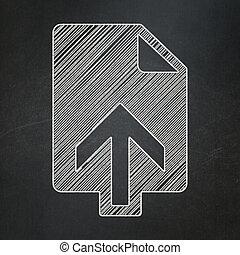 Web design concept: Upload on chalkboard background