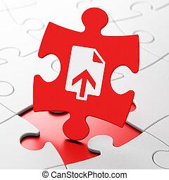 Web design concept: Upload on puzzle background