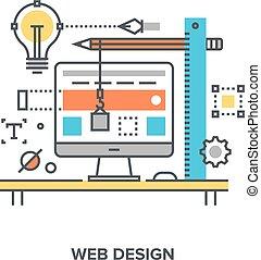 web design concept - Vector illustration of web design flat...