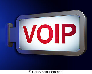 Web design concept: VOIP on billboard background