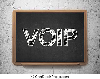 Web design concept: VOIP on chalkboard background - Web...