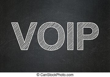 Web design concept: VOIP on chalkboard background