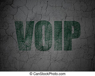 Web design concept: VOIP on grunge wall background