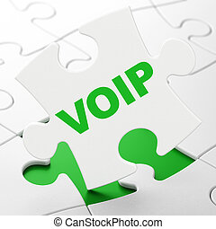 Web design concept: VOIP on puzzle background