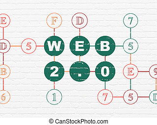 Web design concept: Web 2.0 on wall background