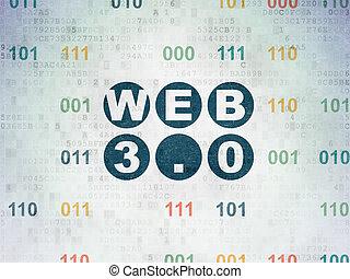 Web design concept: Web 3.0 on Digital Paper background