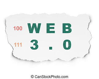 Web design concept: Web 3.0 on Torn Paper background